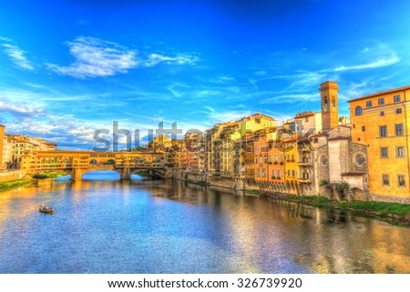Ponte Vecchio and riverside view with boat in Florence (HDR), Italy - stock photo