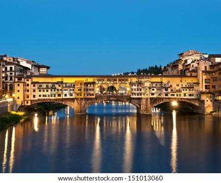 Ponte Vecchio at night. Florence, Italy. - stock photo