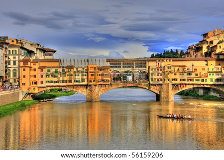 Ponte Vecchio at sunset, Florence, Italy (HDR photo) - stock photo