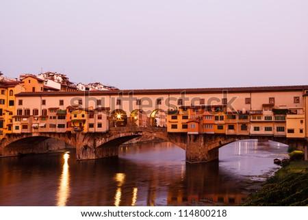 Ponte Vecchio Bridge Across Arno River in Florence at Morning, Italy - stock photo