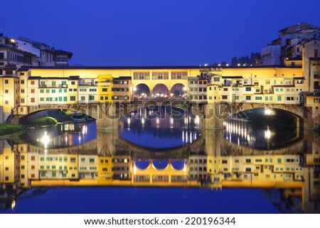 Ponte Vecchio bridge in Florence at night, Italy - stock photo