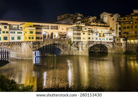 Ponte Vecchio bridge in Florence at night, Italy