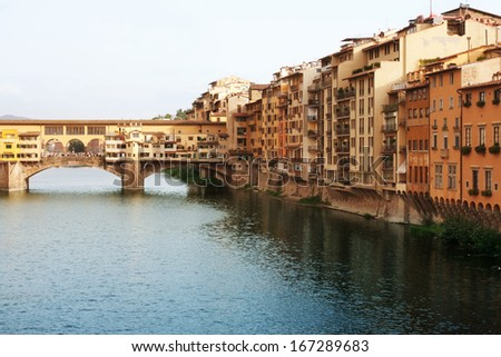 Ponte Vecchio Bridge over the River Arno (Florence Italy)