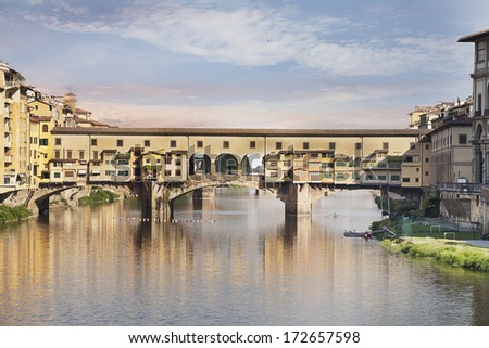 Ponte Vecchio famous bridge over the Arno River in Florence, Italy