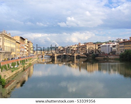 Ponte Vecchio - famous old bridge in Florence on the Arno river, Italy - stock photo