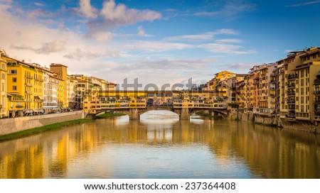 Ponte Vecchio, Florence. Sunny day, famous landmark. Panoramic view - stock photo