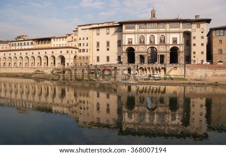 Ponte Vecchio, Florence, Tuscany, Italy - January 2007 : Building near the Ponte Vecchio bridge and at the side of the Arno river