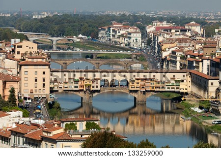 Ponte Vecchio, Florence,Tuscany, Italy .  View from the Michelangelo's Piazza