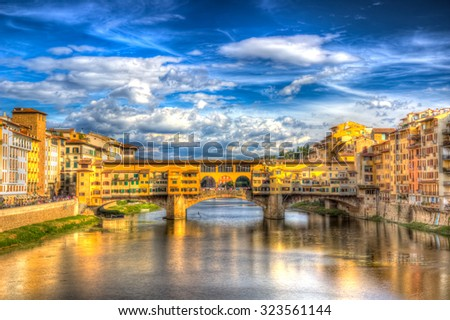 Ponte Vecchio (HDR) in Florence, Italy - stock photo