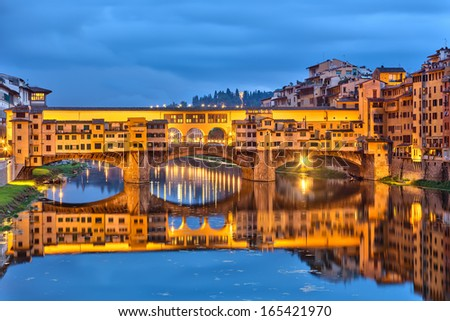 Ponte Vecchio in Florence at night, Italy - stock photo