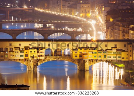Ponte Vecchio in Florence at sunset. Florence, Tuscany, Italy