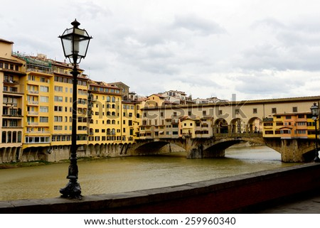 Ponte Vecchio on Arno river. Florence, Italy. - stock photo