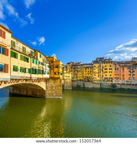 Ponte Vecchio on sunset, old bridge, medieval landmark on Arno river. Florence, Tuscany, Italy. - stock photo