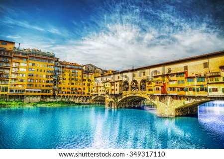 Ponte Vecchio seen from Arno bank in Florence, Italy