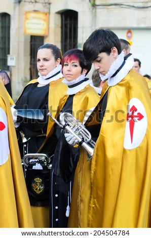 PONTEVEDRA, SPAIN - APRIL 17, 2014: Detail of components of the band, belonging to one of the religious brotherhoods, waiting for the start of Holy Week procession in the city center.