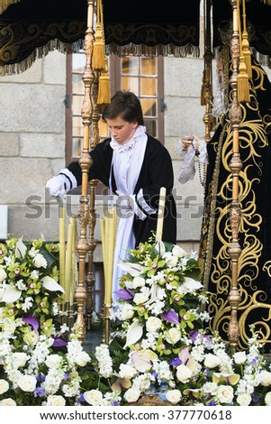PONTEVEDRA, SPAIN - APRIL 3, 2015: Preparations for a religious image, which will participate in an Easter procession through the streets of the city.