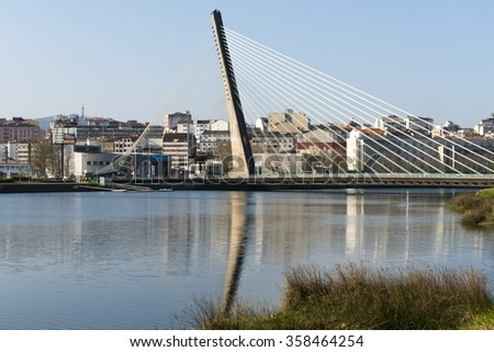 PONTEVEDRA, SPAIN - 15 MARCH 2015: View of one of the Suspenders Cable-Stayed Bridge, which crosses over the river in the city.
