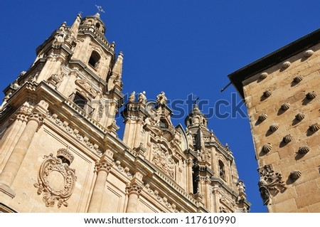 Pontifical University of Salamanca and Casa de las Conchas, which walls are decorated with shells - the emblem of Santiago Orden, located in old city of Salamanca, Spain