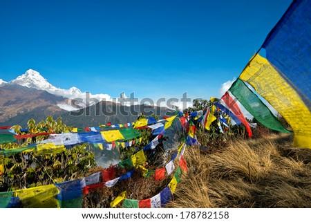 Pooh Hill View, Annapurna Range, Nepal - stock photo
