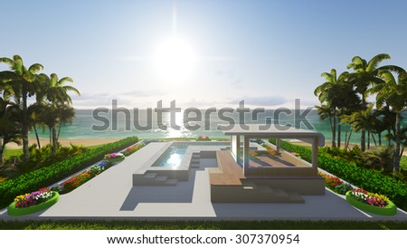 Pool and house by the ocean. 3D render