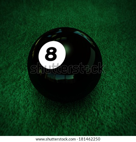 pool ball number eight on green table