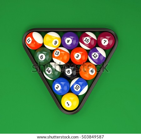 Pool ball pyramid on green billiard table cloth. Group of glossy colorful retro game balls with numbers and plastic triangle, top view. 3D illustration