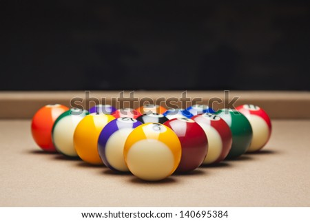 Pool balls arranged on pool table - stock photo