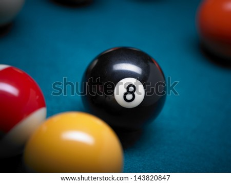 Pool balls close up with focus on the black 8 number
