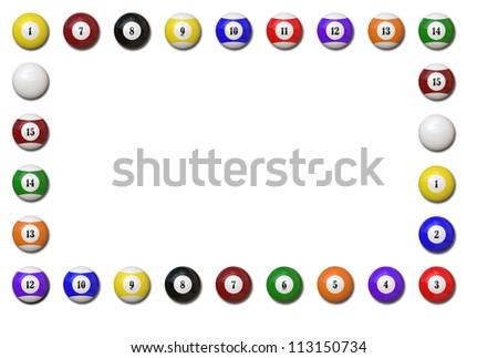Pool balls frame on white background - Illustration - stock photo