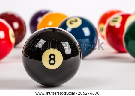 Pool balls in random order with Eight Ball in foreground on plain white backdrop. - stock photo