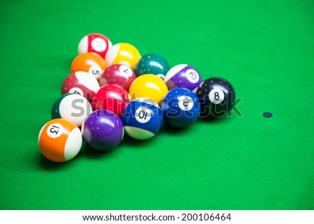 pool balls on snooker table