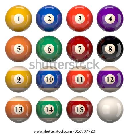 Pool Balls Set Isolated on White Background 3D Illustration - stock photo