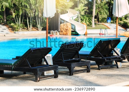 pool bed beside swimming pool - stock photo