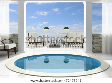 Pool before an open terrace in the private house - stock photo