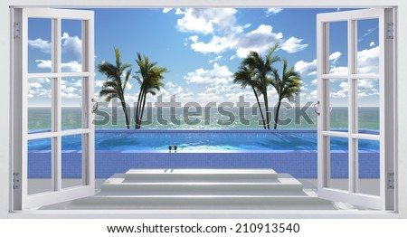 Pool facing the ocean, view from the window. - stock photo