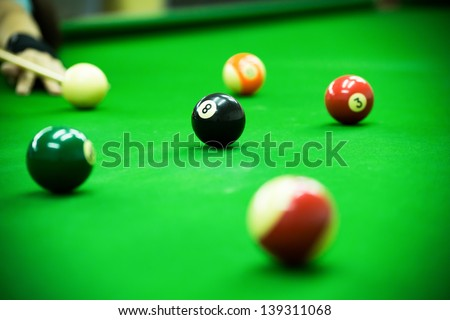 Pool game on green table - stock photo