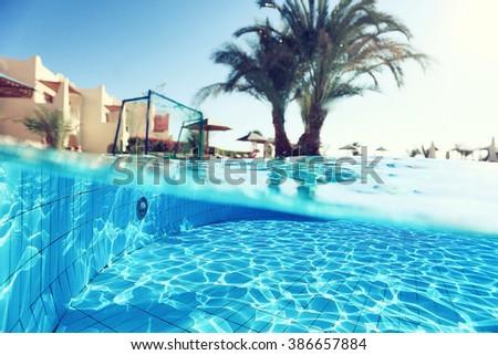Pool Hotel Sun Tropical - stock photo