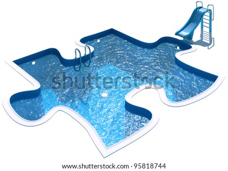 Pool in the form of a puzzle. 3d render - stock photo