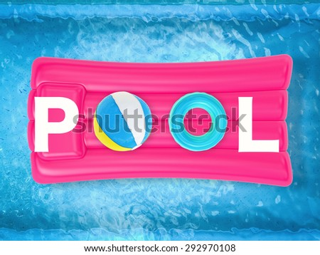 pool letter on inflatable raft top view - stock photo