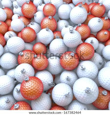Pool of golf balls, xmas balls, baubles, 3d rendering - stock photo