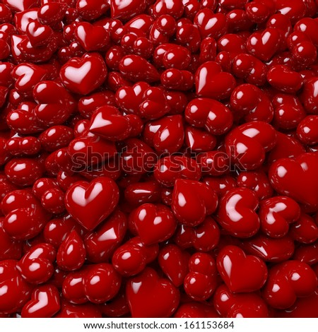 Pool of red, glossy hearts, 3d rendering - stock photo