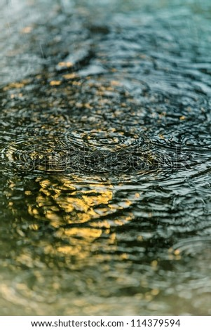 Pool of water with drops of rain - stock photo