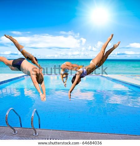 Pool People Team - stock photo