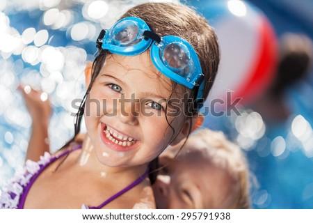 Pool, swim, kid. - stock photo