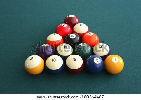 Pool table balls lined up
