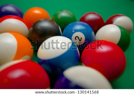 Pool table beginning closeup - stock photo