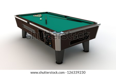 pool table isolated on white background - stock photo