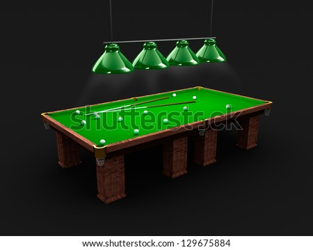 Pool table with light, billiard balls and cues - stock photo