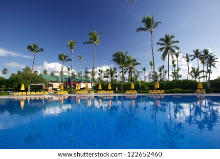 Pool view, Punta Cana, Dominican Republic - stock photo