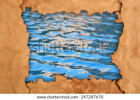Pool water in paper frame